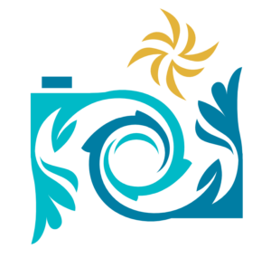 stylized camera logo with intertwined borders in blue and teal and a gold starburst flash